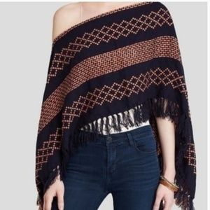 Free People Woven Poncho Sweater Top Blue Pink